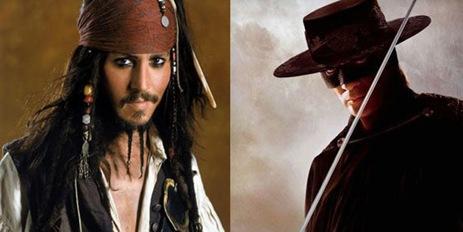 disfraces zorro y pirata jack sparrow